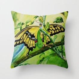 Lime Tree Butterfly II Throw Pillow