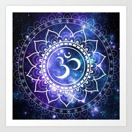 Om Mandala: Violet & Teal Galaxy Art Print