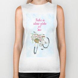 Take a Slow Ride With Me White Bicycle Flower Basket Biker Tank