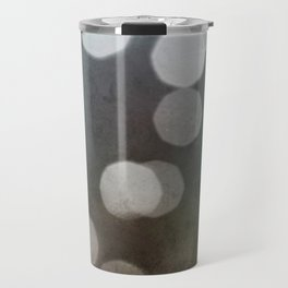 Charcoal Gray and Cream Bokeh Dots Pattern Travel Mug