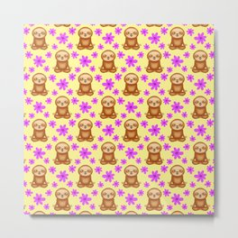 Funny cute little meditating relaxed chilling zen sloths and pretty pink spring flowers white sunny bright yellow pattern. Gifts for sloth and nature lovers. Nursery ideas. Metal Print