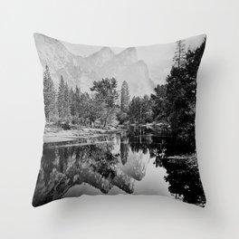 The Three Brothers, 3,818 feet, reflected, Yosemite, California by Carleton Watkins and Isaiah Taber Throw Pillow