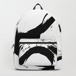 Brushstroke 6: a minimal, abstract, black and white piece Backpack