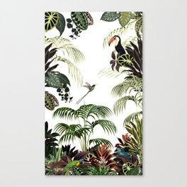 Tropical foliage and birds Canvas Print