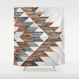 Urban Tribal Pattern No.12 - Aztec - Wood Shower Curtain