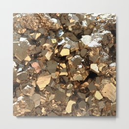 Golden Pyrite Mineral Metal Print