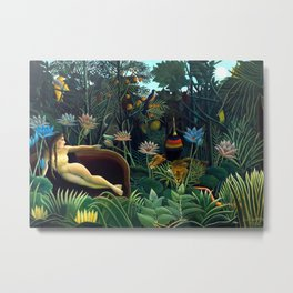Henri Rousseau, The Dream (Le Rêve) 1910, Artwork for Wall Art, Prints, Posters, Tshirts, Men, Women, Youth Metal Print