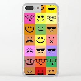 Square Emoji Faces Clear iPhone Case