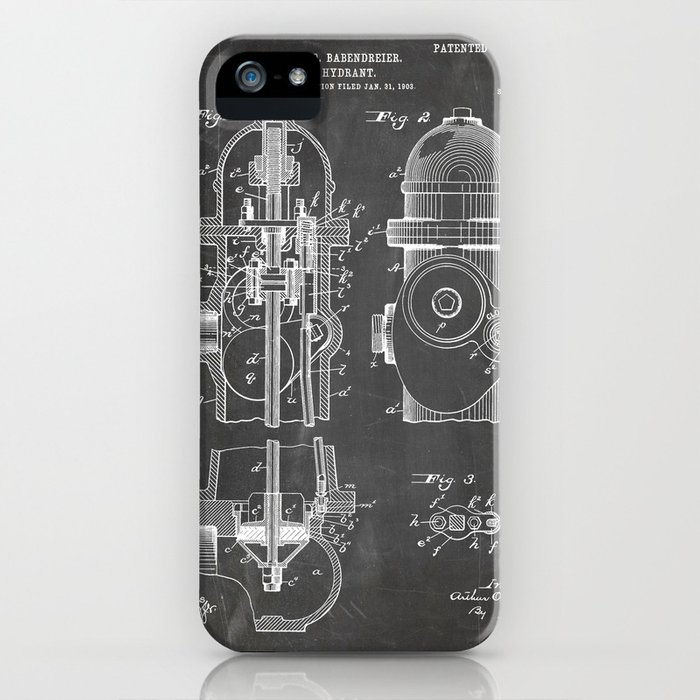 Fire Fighter Patent - Fire Hydrant Art - Black Chalkboard iPhone Case