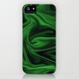 Black and green marble pattern iPhone Case