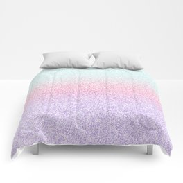 Colorful Purple, Pink and Green Watercolor Trendy Glitter Mermaid Pastel Iridescent Comforters