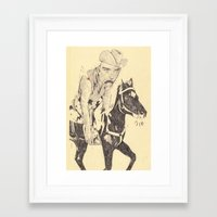 cowboy Framed Art Prints featuring cowboy by withapencilinhand