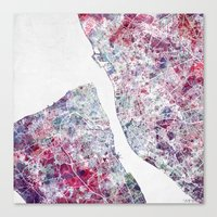 liverpool Canvas Prints featuring Liverpool map by MapMapMaps.Watercolors