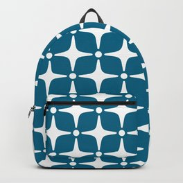 Mid Century Modern Star Pattern Peacock Blue 2 Backpack