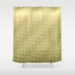 Gold Ripple Grid Pattern Shower Curtain