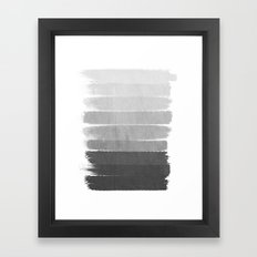Brushstroke - Ombre Grey, Charcoal, minimal, Monochrome, black and white, trendy,  painterly art  Framed Art Print