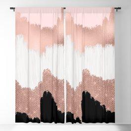 Girly Modern Rose Gold Pink Glitter Brushstroke Art Blackout Curtain