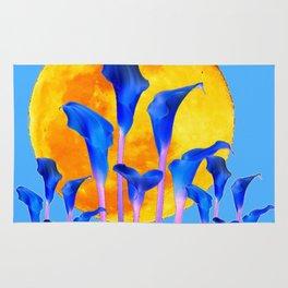 GOLDEN FULL MOON BLUE CALLA LILIES BLUE ART Rug