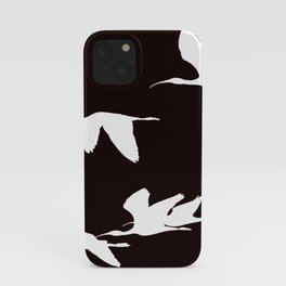 White Silhouette of Glossy Ibises In Flight iPhone Case