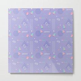 Retro geometrical lavender purple coral teal 80's pattern Metal Print
