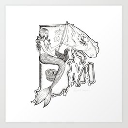 Rhode Island Mermaid Art Print