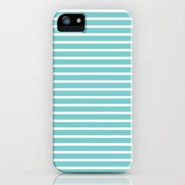 Nautical Teal Sea Breeze Horizontal Stripes iPhone Case