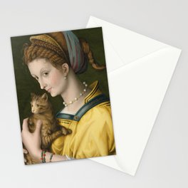 Portrait of a Young Lady Holding a Cat by Bacchiacca, 1525 Stationery Cards