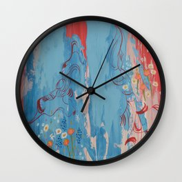 Red and Blue Abstract Flower Field Painting by Jodi Tomer. Wall Clock