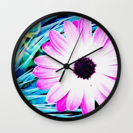 Making art with flower - blue tones Wall Clock