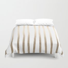 Simply Drawn Vertical Stripes in White Gold Sands Duvet Cover