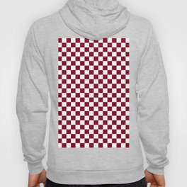 White and Burgundy Red Checkerboard Hoody