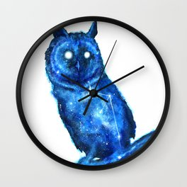 Owl Painting | Space Owl | Owl Constellation | Cosmic Owl | Blue Owl Wall Clock