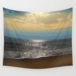 Golden Sky Over The Ocean Wall Tapestry