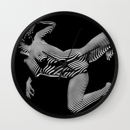 8431-KMA BW Striped Art Nude Woman Open Free Empowered Wall Clock