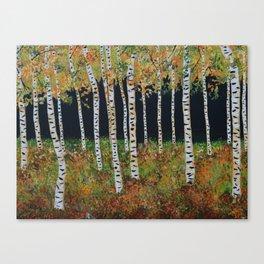 Aspen Birch Trees, Landscape Painting, Autumn Colors, Rustic Home Decor Canvas Print