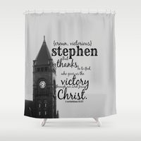 stephen king Shower Curtains featuring Stephen victorious by KimberosePhotography