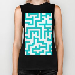 White and Cyan Labyrinth Biker Tank