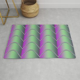 Purple&Green Textured Pattern Rug