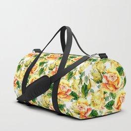Hand painted yellow orange green watercolor roses floral Duffle Bag