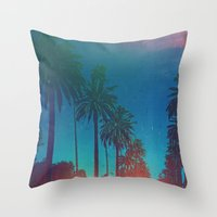los angeles Throw Pillows featuring Los Angeles. by Polishpattern