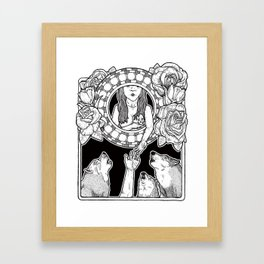 an offering to the wolves (black and white) Framed Art Print