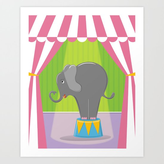Circus Elephant in the Spotlight under the Big Top Art Print