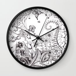Garden Doodle 2 Wall Clock
