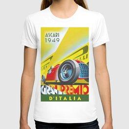 1949 Italian Grand Prix Ascari Motor Racing Vintage Poster T-shirt