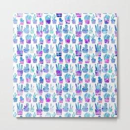 Modern hand painted pink teal watercolor cute cactus floral Metal Print
