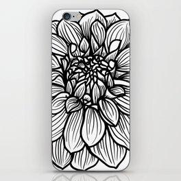 Dahlia in black and white iPhone Skin