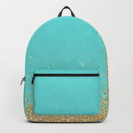 Sparkling gold glitter confetti on aqua teal damask background Backpack