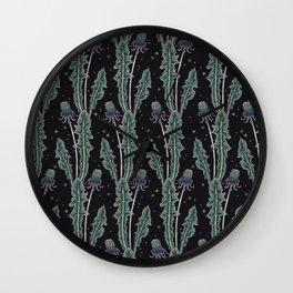 dandelion buds at midnight Wall Clock