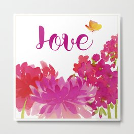 Hot Pink Floral with the word Love Metal Print