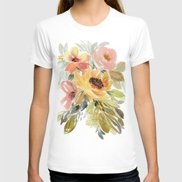 Good As Gold Watercolor Vintage Style Floral T-shirt